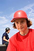 Teenage boy with helmet
