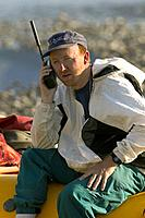 River Guide Talks on Satellite Phone Kongakut River AK ANWR AR Summer