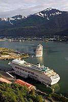 Princess & Carnival Cruise ships @ Dock Gastineau Channel Juneau Alaska Southeast Inside Passage