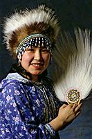 Alaskan Eskimo Girl w/ Dancing Fans Head dress AK Portrait