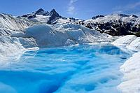 Melt Pond Atop Mendenhall Glacier keeps blue ice from oxidising Juneau Alaska Tongass National Forest