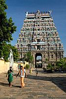 The north gopura, one of four monumental entrance gateways in the middle of each side of the third prakara. Nataraja temple in Chidambaram, Tamil Nadu...