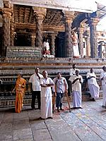 The Nritta Sabha or the hall of dance with some fine pillars is in the form of a chariot drawn by horses. Chidambaram. Tamil Nadu, India