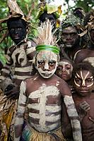 Vanatu. Tanna Island. Fetukai. Black Magic and Kava test tour villagers in native dress.