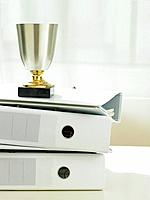 Trophy on stack of folders