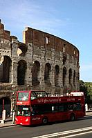 Italy, Lazio, Rome, Colosseum, Tour Bus
