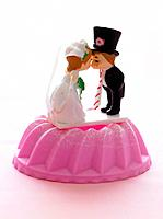 Bride and groom cake topping figurine kissing