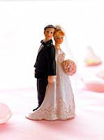Bride and groom cake topping figurines