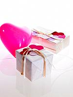 Valentine boxes and pink heart shaped balloon