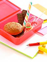 Close_up of a lunch box and a fountain pen on a notebook