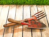 Close_up of a trowel and a gardening fork