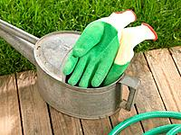 Pair of gardening gloves with a watering can