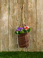 Flowers in a wicker basket hanging on a wooden plank