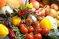 Assorted Fruits And Vegetables With Tulips