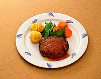 Hamburg Steak, High Angle View