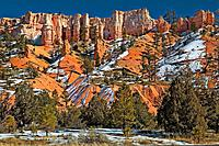 Hoodoos and snow at Bryce Canyon National Park, Utah, USA