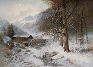 Ü Kunst, Steinach, Anton Victor Alexander 1819 _ 1891, Gemälde Mühle im Gebirge Galerie Heseler, München romantik, winter, winterstimmung, wald, berge...