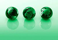 Three green globes