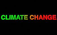 Climate change written in red and green