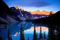 Lake Moraine and Valley of 10 Peaks (Wenkchemna Peaks) at sunrise, Banff National Park, Alberta, Canada