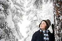 Boy in snowy forest (thumbnail)