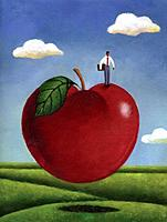 Businessman standing on a giant red apple (thumbnail)