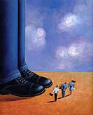 Three tiny business people standing at the feet of a giant man