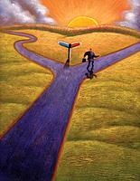 Businessman taking one of two paths at a fork in the road (thumbnail)