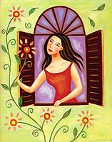 Young woman looking at flowers outside her window (thumbnail)