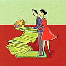 Couple walking along a path of money leading to a house