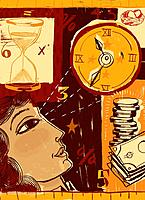 A woman looking up at a clock against a collage of an hourglass and a pile of money