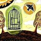 A bird flying out from a cage (thumbnail)