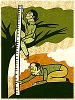 Two men measuring the height of a tree