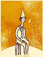 Drawing of a man wearing a dunce cap while sitting on a stool