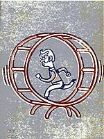 Drawing of a man running in a gerbil wheel