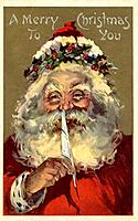 Vintage Christmas postcard of Santa Claus holding a feather to his nose (thumbnail)