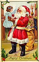 Vintage Christmas postcard of Santa Claus holding up a little girl