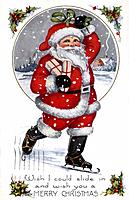 Vintage Christmas postcard of Santa ice skating while holding presents