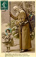 Vintage Christmas postcard of Santa Claus walking with a little girl holding a toy horse