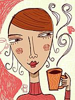 A woman holding a cup of hot beverage