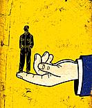 A giant human hand holding a businessman on the tip of his finger (thumbnail)