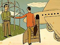 Two men holding a banknote while one boards a plane (thumbnail)