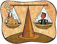 Scales with a businessman on one side and a factory building on the other (thumbnail)