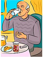 An elderly man taking pills with a glass of water (thumbnail)