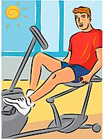 Man exercising on a recumbent bike to reduce strain on his back (thumbnail)