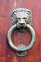 Italy, Tuscany, Wooden door with knocker, close_up