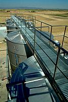 View of stainless steel tanks in the winery