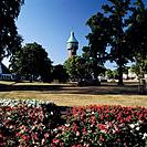 Germany, Europe, Heide, Dithmarschen, Schleswig_Holstein, city park, water tower, flower beds, flowers