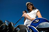 Golf, Golfing, sports, Handicap, golf club, woman, cap, bag, blue sky