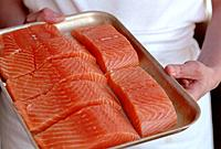 Salmon Paves on Baking Tray